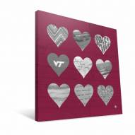 "Virginia Tech Hokies 12"" x 12"" Hearts Canvas Print"