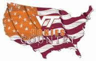 "Virginia Tech Hokies 15"" USA Flag Cutout Sign"