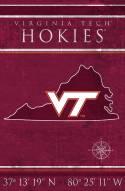 """Virginia Tech Hokies 17"""" x 26"""" Coordinates Sign"""
