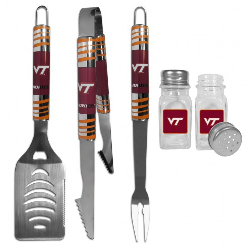 Virginia Tech Hokies 3 Piece Tailgater BBQ Set and Salt and Pepper Shakers