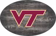 "Virginia Tech Hokies 46"" Distressed Wood Oval Sign"