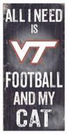 """Virginia Tech Hokies 6"""" x 12"""" Football & My Cat Sign"""