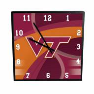 Virginia Tech Hokies Carbon Fiber Square Clock