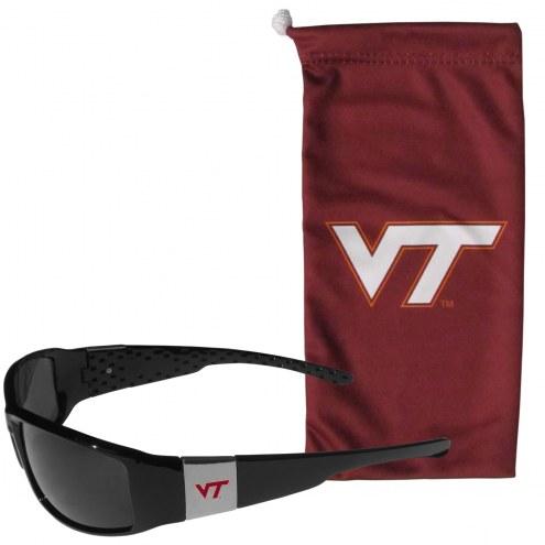 Virginia Tech Hokies Chrome Wrap Sunglasses & Bag