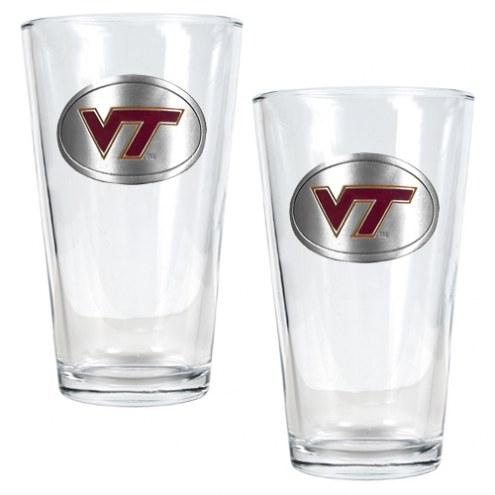 Virginia Tech Hokies College 16 Oz. Pint Glass 2-Piece Set