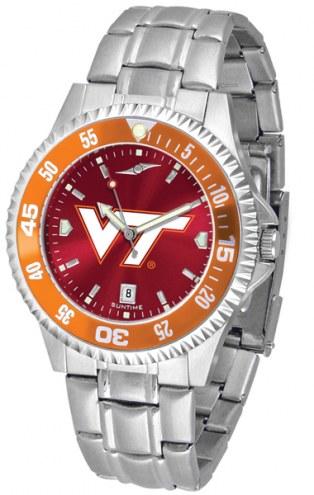 Virginia Tech Hokies Competitor Steel AnoChrome Color Bezel Men's Watch