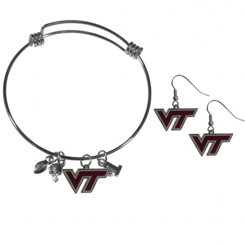 Virginia Tech Hokies Dangle Earrings & Charm Bangle Bracelet Set