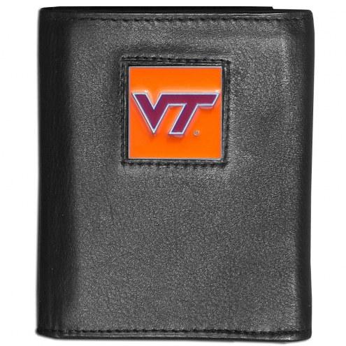 Virginia Tech Hokies Deluxe Leather Tri-fold Wallet