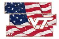 Virginia Tech Hokies Flag 3 Plank Sign