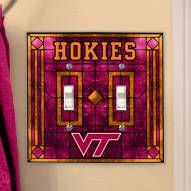 Virginia Tech Hokies Glass Double Switch Plate Cover