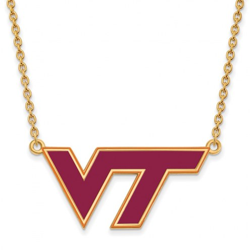 Virginia Tech Hokies Sterling Silver Gold Plated Large Enameled Pendant Necklace