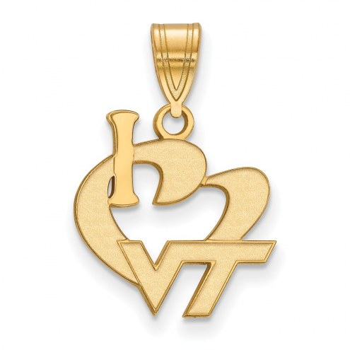 Virginia Tech Hokies Sterling Silver Gold Plated Large I Love Logo Pendant