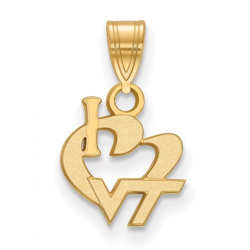 Virginia Tech Hokies Sterling Silver Gold Plated Small I Love Logo Pendant