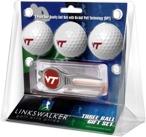 Virginia Tech Hokies Golf Ball Gift Pack with Kool Tool
