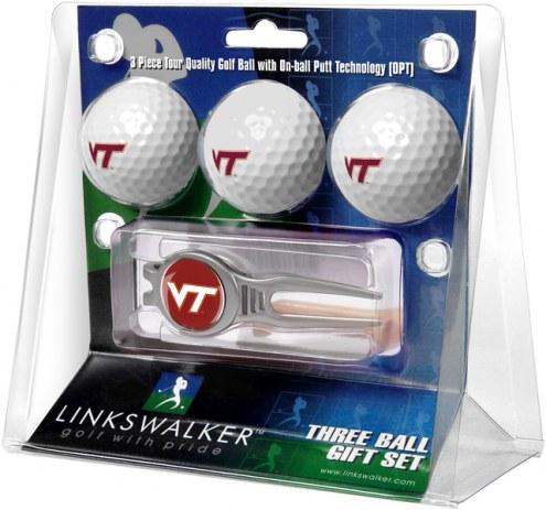 Virginia Tech Hokies Golf Ball Gift Pack with Kool Tool
