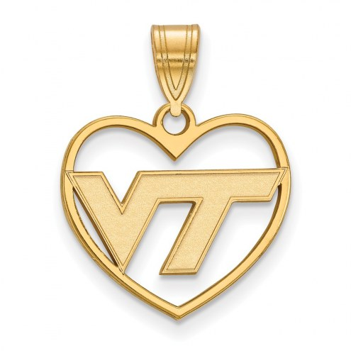 Virginia Tech Hokies NCAA Sterling Silver Gold Plated Heart Pendant