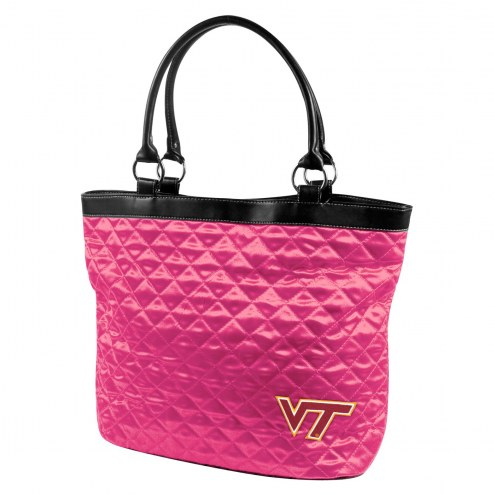 Virginia Tech Hokies Pink NCAA Quilted Tote Bag