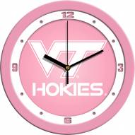 Virginia Tech Hokies Pink Wall Clock