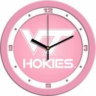 Virginia Tech Hokies Pink Wall Clock