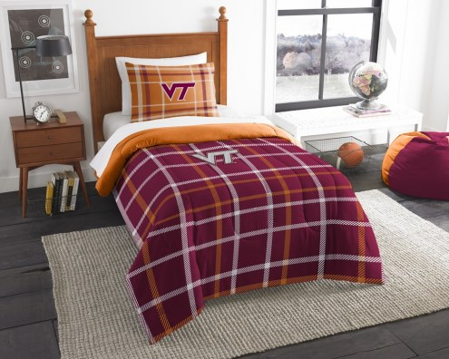 Virginia Tech Hokies Plaid Twin Comforter Set