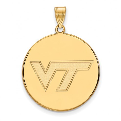 Virginia Tech Hokies Sterling Silver Gold Plated Extra Large Disc Pendant