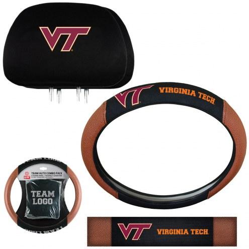 Virginia Tech Hokies Steering Wheel & Headrest Cover Set