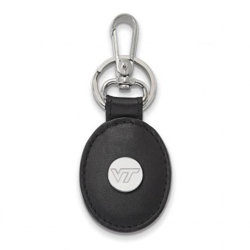 Virginia Tech Hokies Sterling Silver Black Leather Oval Key Chain