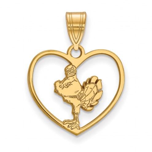 Virginia Tech Hokies Sterling Silver Gold Plated Heart Pendant