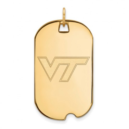 Virginia Tech Hokies Sterling Silver Gold Plated Large Dog Tag