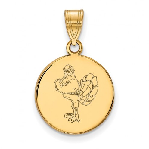 Virginia Tech Hokies Sterling Silver Gold Plated Medium Disc Pendant