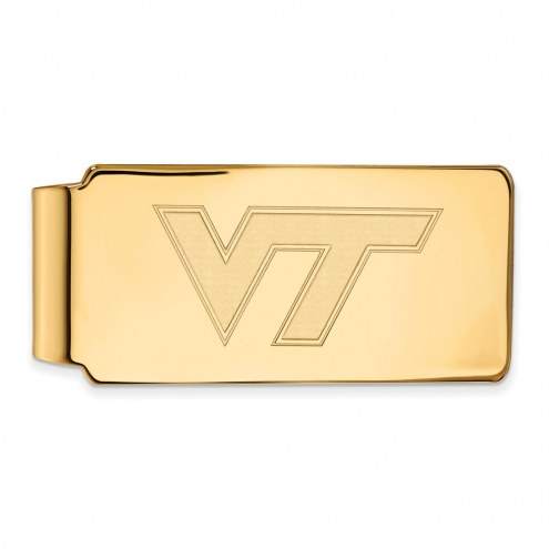 Virginia Tech Hokies Sterling Silver Gold Plated Money Clip