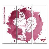 Virginia Tech Hokies Triptych Watercolor Canvas Wall Art