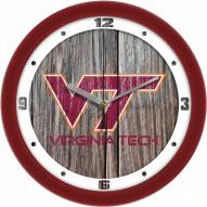 Virginia Tech Hokies Weathered Wood Wall Clock