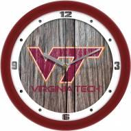 Virginia Tech Hokies Weathered Wood Wall Clock