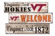 Virginia Tech Hokies Welcome 3 Plank Sign