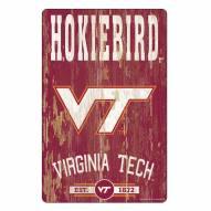 Virginia Tech Hokies Slogan Wood Sign