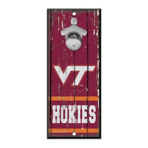 Virginia Tech Hokies Wood Bottle Opener