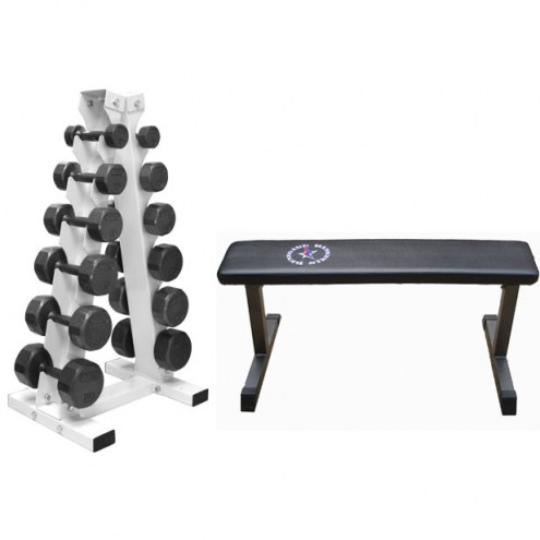 VTX 12 Sided Cast Iron Dumbbell Package with Flat Bench