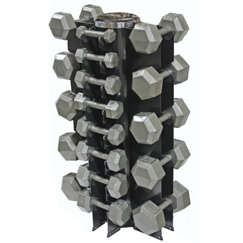 VTX 13 Pair Vertical Dumbbell Rack Set With 8 Sided Cast Iron Dumbbells