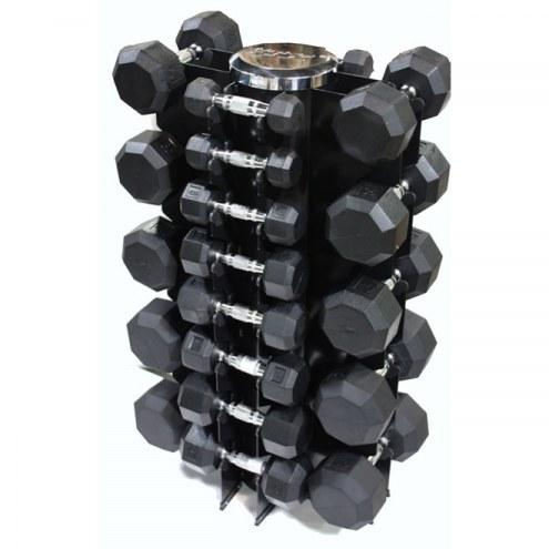 VTX 13 Pair Vertical Dumbbell Rack Set With 8 Sided Rubber Dumbbells