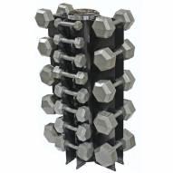 VTX 8 Pair Vertical Dumbbell Rack Set With 8 Sided Cast Iron Dumbbells