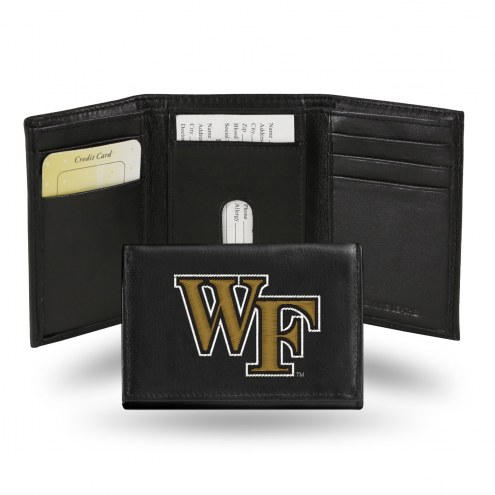 Wake Forest Demon Deacons Embroidered Leather Tri-Fold Wallet
