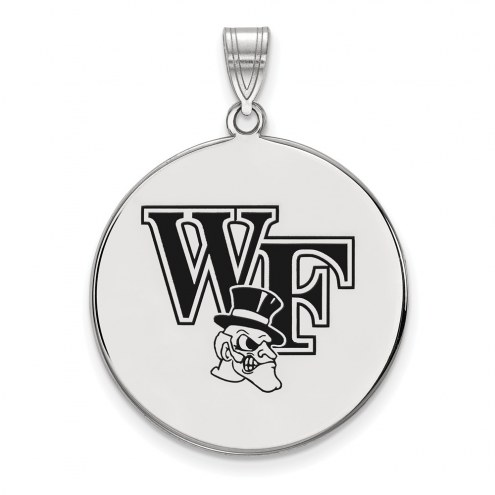 Wake Forest Demon Deacons Sterling Silver Extra Large Enameled Disc Pendant