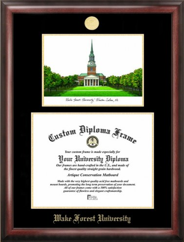 Wake Forest Demon Deacons Gold Embossed Diploma Frame with Lithograph