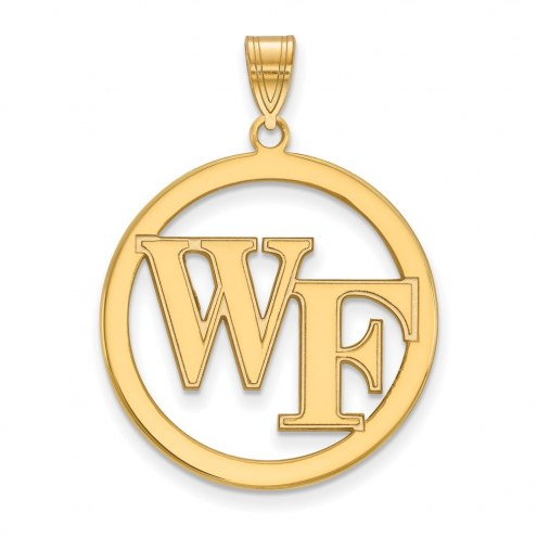 Wake Forest Demon Deacons Sterling Silver Gold Plated Large Circle Pendant