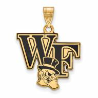 Wake Forest Demon Deacons Sterling Silver Gold Plated Large Enameled Pendant
