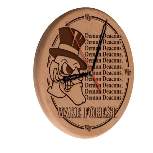 Wake Forest Demon Deacons Laser Engraved Wood Clock