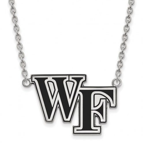 Wake Forest Demon Deacons Sterling Silver Large Enameled Pendant Necklace