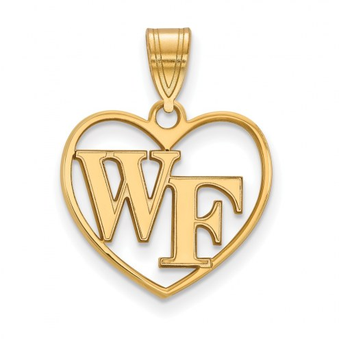 Wake Forest Demon Deacons NCAA Sterling Silver Gold Plated Heart Pendant