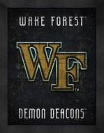 Wake Forest Demon Deacons Retro Logo Map Framed Print